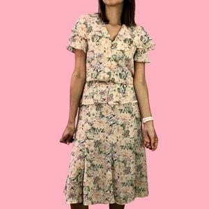80s/90s floral midi dress